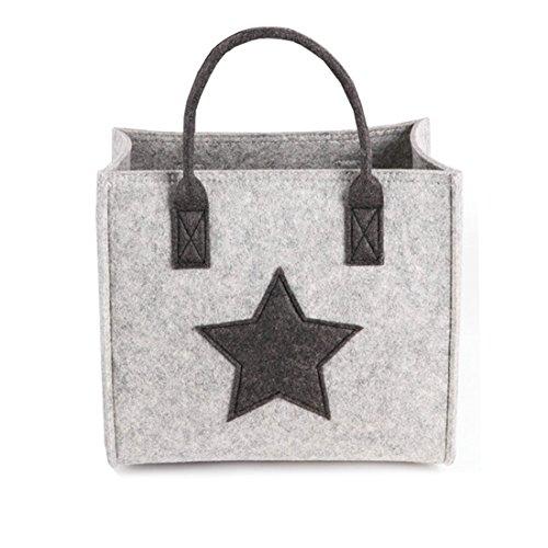 GWELL Filztasche Einkaufstasche Stoff Shopper Bag Henkeltasche Einkaufskorb Aufbewahrung Kaminholztasche grau L