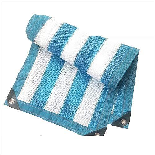 Blaue und weiße Schatten net 6-Pin-Wrap-Schnalle Verschlüsselung Wärmedämmung Netzwerk Balkon fleischigen Schatten Netzwerk Sun Netzwerk Schatten Segel (Größe: 5 x 8 M) -