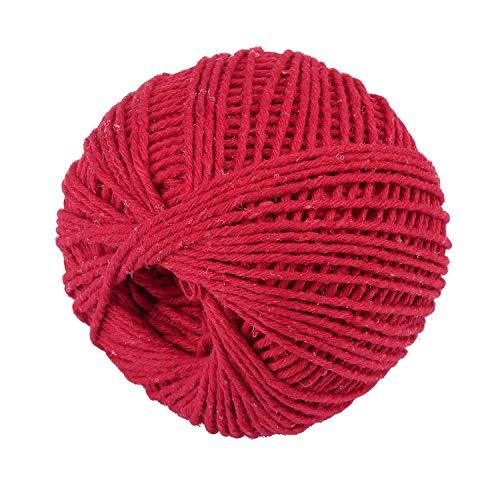 Joyibay 1 Rolle Weihnachtsbaumwollschnur Tag Rope DIY Rote Baumwollseil Verpackungsschnur