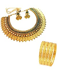 ZenemeTraditional Necklace Set & Traditional Bangle Set For Women Party Wear Jewellery Set With Earrings For Women