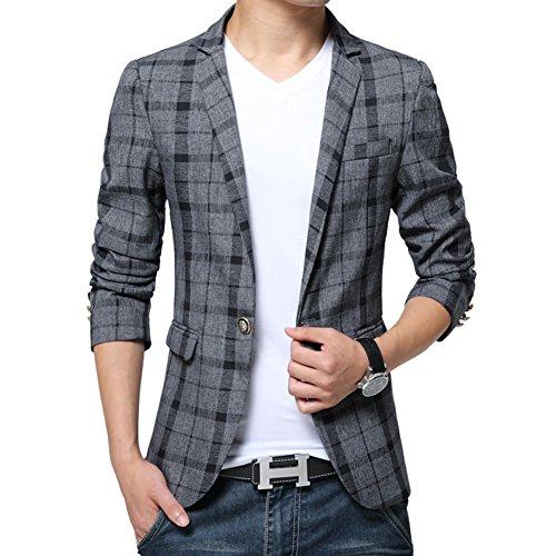 BiSHE Männer Plaid Bettwäsche elegante Blazer Slim Fit Smart formalen Anzüge Jacket Sakko (Anzug Tasche Zwei Plaid)