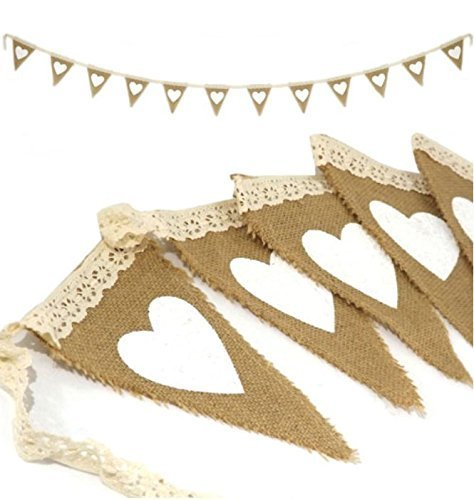 Allbusky Vintage Jute Jute Wimpelkette Banner Sackleinen Flagge für Party Hochzeit Dekorationen (Love & Lace)