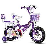 ZHIRONG Kinderfahrrad Rad Des Jungen Und Fahrrad Des Mädchens Mit Trainingsrad 12 Zoll, 14 Zoll, 16 Zoll, 18 Zoll Geschenke Für Kinder ( Farbe : Lila , größe : 18 inches )