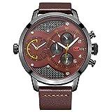 Men Es Personality Fashion Watch Kalender Leuchtend Wasserdichten Chronographen Quarz Armband Uhr Faux Leder Uhr Blau Braun Schwarz,Brown
