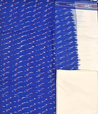 Exotic India Salwar Kameez Fabric from Pochampally with Ikat Weave - Color Nautical BlueColor Free Size