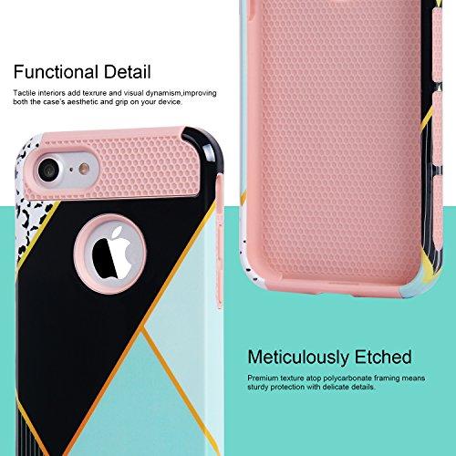 iPhone 6 6s hülle, Imikoko iPhone 6 Hülle Dual Layer Case Cover Hybrid Schild TPU + PC Hard Case Cover für iPhone 6s / 6 (4.7, Grau Fuchsia) Rosegold Grün