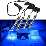 #10: Enem 12 V 4*9 Car Interior Under Dash LED Light Bulbs - Glow Lighting accessory Kit for Floor Any Vehicle - Blue