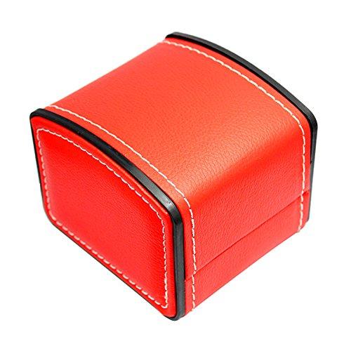 NICERIO-Uhr-Schmuck-Box-OrganizerEinzelnes-Gitter-PU-Leder-Geschenk-Armband-Schmuck-Fall-Speicherorganisator10-9-8-CM-L-B-HRot