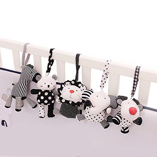 Imagen para SHILOH - Juguete para cochecito o cuna de bebé (5 piezas), diseño de animales marinos, color blanco y negro