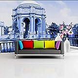 Hwhz Carta Da Parati Personalizzata 3D Carta Da Parati 3D Bellissimo Scenario Castello Palazzo Soggiorno Balcone Decorazione Dell'Hotel Murale Sfondo-150X120Cm