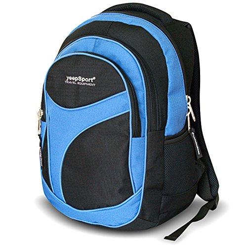 YEEPSPORT Jungen Mädchen Schul Rucksack Ranzen 18l groß leicht stabil 21605, Farbe:Blau (Blu-ranzen)