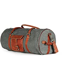 Dedicate 100% Genuine Leather And Dark Grey Canvas Duffel Bag Travel Luggage Bag - B07D5FF2X3