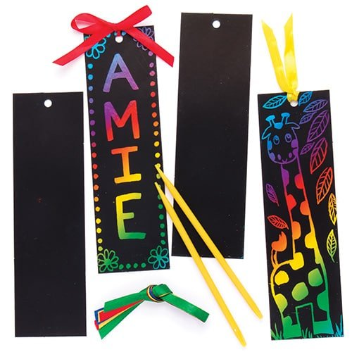 Sgraffito-Lesezeichen - scratch art mit Regenbogenfarben für Kinder zum Basteln (12 Stück)