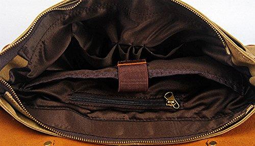 GSPStyle Herren Leder Canvas Taschen Schultertasche Retro Umhängetasche Schultasche Messenger Farbe Armee-Grün Kaffeebraun
