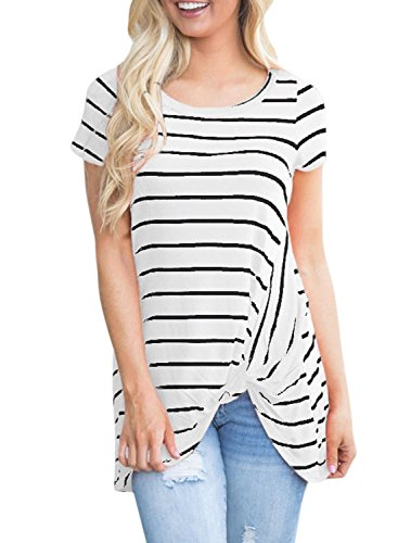 ACHICGIRL Women's Fashion Front Knot Short Sleeves Striped Tee white