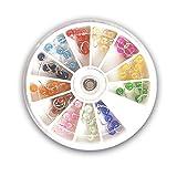 Nagelpiercing im Rondell 60 Stk. / 12 Farben irisierend