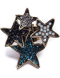 Aleación de diamantes estrella de cinco puntas apertura partido anillo