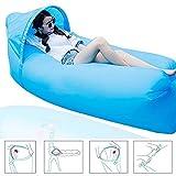 Original Design 0,9 kg tragbar Schnell aufblasbares Sofa/Bett/Boot für Outdoor Wandern Camping Lounge Strand und Garten Freizeit Schlafsäcke Camping Bett mit Sonnenschirm (Hellblau)