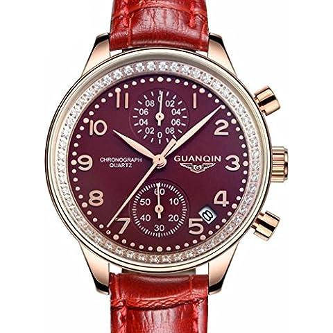 downj Brand donna rosso in pelle al quarzo cronografo data