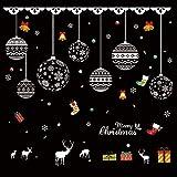 HAPPYLR Fensterglas Aufkleber Bekleidungsgeschäft Wandaufkleber Fenster Weihnachtsschmuck Ornamente hängen Ball kleines Geschenk Fensteraufkleber, schöne Weihnachten Perlen + Geschenkbox, groß