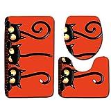 ZWNSWD Persönlichkeit Mode 3D Bad 3 Sätze Fußmatten Bad Teppich WC-Sitz/Badezimmer/Rutschfeste Matte (75 x 45 + 45 x 37 + 35 x 45),F