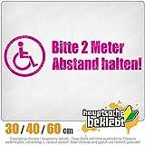 KIWISTAR - Rollstuhl - 2m Abstand halten Heckscheibe in 15 FARBEN Aufkleber Sticker