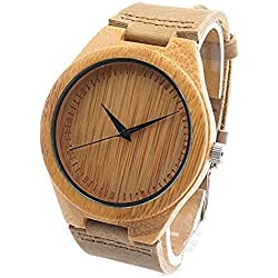 Unisex Retro Leather Fashion Bamboo Wooden Watch Japan Movement Quartz With Genuine Cowhide Leather Band Casual Watches