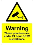 Warning Premises Protected 24 Hour CCTV Surveillance A5 Plastic Pre-Drilled Sign.