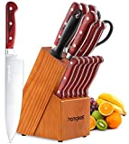 Knife Set, 15-Piece Kitchen Knife Set with Block Wooden, Self Sharpening Manual for Chef Knife Set, German X50Cr15 Stainless Steel Knives, Homgeek