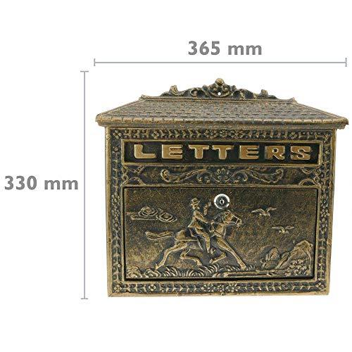 PrimeMatik – Briefkasten Postkasten Retro Antik Vintage Gusseisen Schwarze Oxid für wallmount Pferd - 2