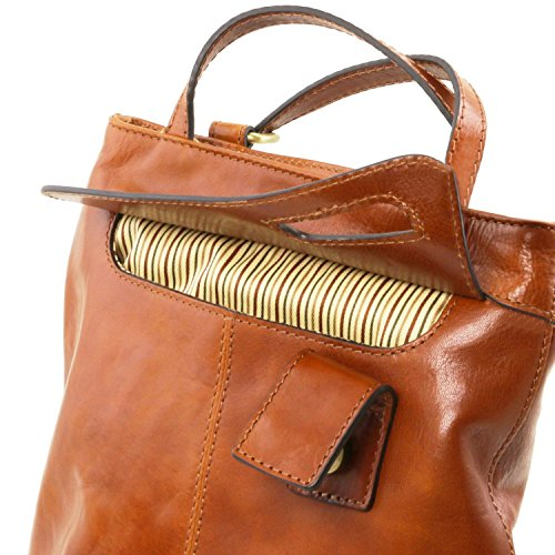 Tuscany Leather Martina Borsa donna in pelle convertibile a zaino Marrone Marrone