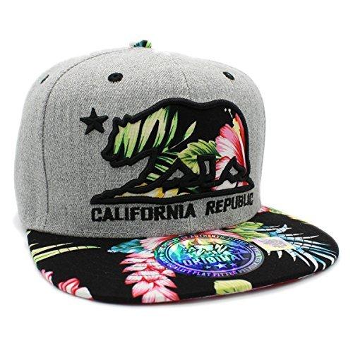 LAFSQ Bestickte Kalifornien Republic Bear Hawaiian Flower Printed Snapback Hat, Herren, grau/schwarz, Einheitsgröße