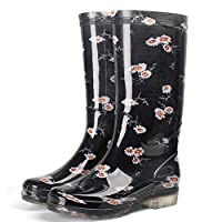 lonfenner Rain Boots,Women High Rainboots Soft Comfortable Waterproof Rubber Keep Warm Wear Resistant Water Shoes Wellies Non-Slip Rain Boots Ladies Black Daisy Rain Boots