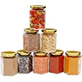Kurtzy Glass Jar Container Hexagon Canister Transparent Organizer Air Tight Golden Lid For Kitchen Food Pickle Spice Jam Storage Set Of 8