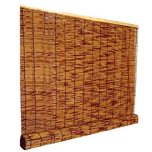 Bambusrollos Reed Vorhang Retro abschneiden römischen Stroh Jalousien Schatten wasserdicht Mehltau, Fensterläden innen und außen, geeignet für Türen und Fenster, braun, anpassbare Größe (Reed Jalousien)