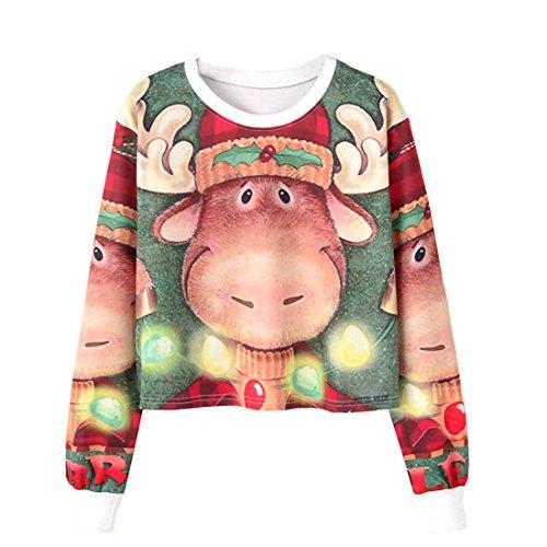 ACVIP Damen Sweatshirts Rundhals Pullover Freizeit Langarm Shirt Pullover Jumper(China L,Brust:96cm,Hirsch) (Hirsche China)