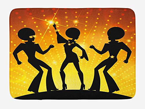 TKMSH 70s Party Bath Mat, Dancing People in The Disco Night Club Afro Hair Style Gold Colored Bokeh, Plush Bathroom Decor Mat with Non Slip Backing, 15.7X23.6 inch, Black Gold Yellow
