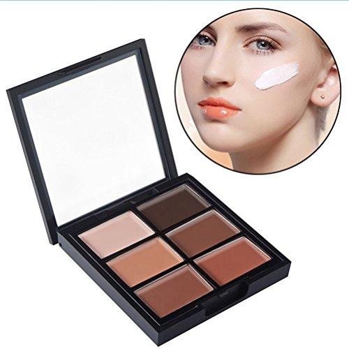 Frcolor Kit de contour de maquillage, base de contournement de crème de 6 couleurs et palette de maquillage de correcteur de mise en évidence