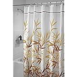 mDesign cortina de baño antimoho - Cortina ducha de 180 cm x 200 cm - Cortina bañera impermeable color marrón - Modelo hojas de bambú