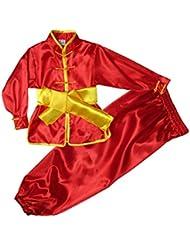 ZOOBOO Kids 'y adultos disfraz de Chino Tradicional Wushu artes marciales uniformes, color rojo, tamaño 100