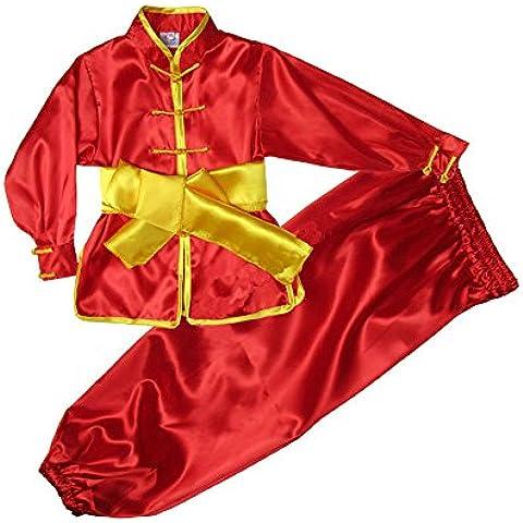 Niños ZooBoo ' y adultos chinos disfraz artes marciales uniformes Wushu tradicional, color Rojo - rosso, tamaño 100