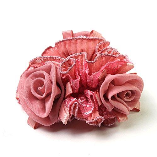 Satin-Haargummi mit drei aufgesetzten Stoff-Rosen (altrosa) - Rose Haargummi