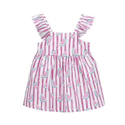 JUTOO Neugeborenes Baby-Mädchen-Frucht-gestreifter Druck Bowknot-Bügel-Prinzessin Casual Dress Clothes ()