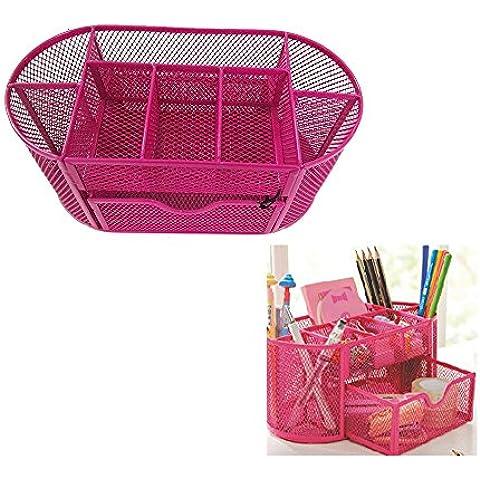 Organizer da scrivania da Rechel, Mesh penna per forniture per ufficio in metallo scatola Cestino con 9pezzi 22*11*11cm Rose red