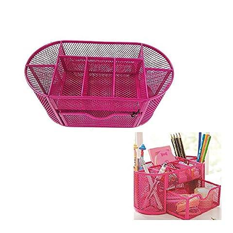 Bureau organisateur par rechel, bureau Porte Stylo en maille d'alimentation Boîte de rangement panier en métal avec 9pièces 22*11*11cm rose rouge