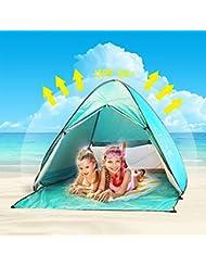 Tente de Plage Enfant Adulte Anti UV,Oummit Tente Pop Up Automatique Pliable Portable Abris de Plage Avec Protection Soleil UV 50+ pour Activités d'extérieur Camping Randonnée Voyage Plage.