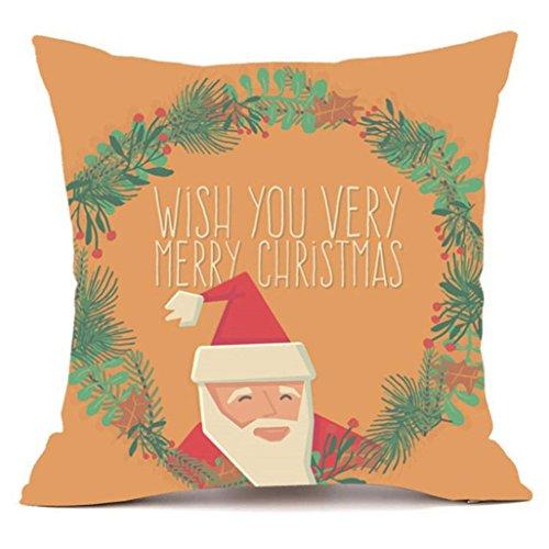 JANLY Joyeux Noël taies oreiller canapé Super Cachemire housse coussin maison Decor (Multicolore E)