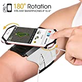 Armband Phone Holder, SAPE 180�Rotatable with Key & Earbuds Holder Phone Armband for Running Hiking Biking Walking for iPhone X/ iPhone 8 Plus/ 8/ 7 Plus/ 6 Plus/ 6, Galaxy S8/ S8 Plus/ S7 Edge Note 8 5 Pixel (Silver)