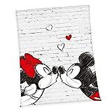 Klaus Herding GmbH Disney Mickey & Minnie Coperta in Poliestere Mickey e Minnie, Polyester, Bianco, 150 x 200 cm