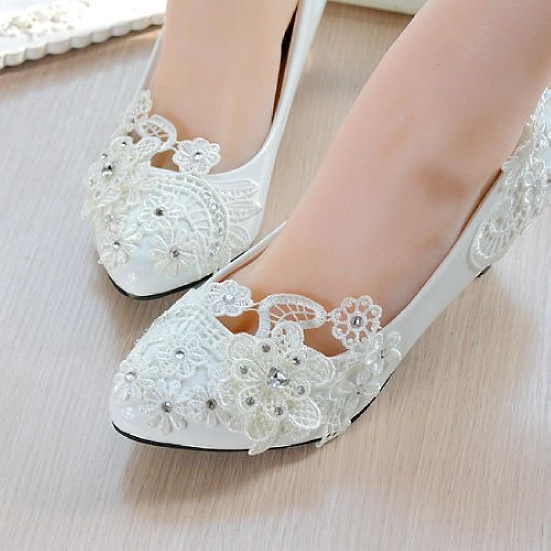 JINGXINSTORE Bianco perla pizzo floreale Nuziale matrimonio scarpa tacco tacco tacco alto Piattaforma piana parte,UK7 EU40... | Qualità Affidabile  a619e5